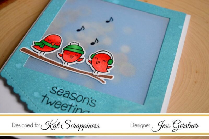 Christmas Shaker Card featuring Lawn Fawn Winter Sparrows and Kat Scrappiness